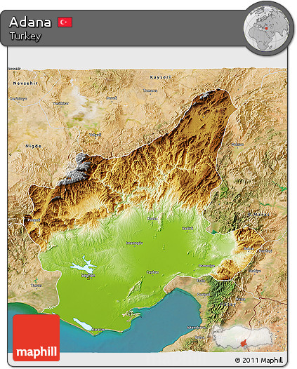 Free Physical 3D Map of Adana satellite outside