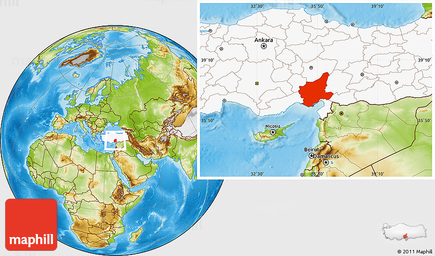 Physical Location Map of Adana highlighted country