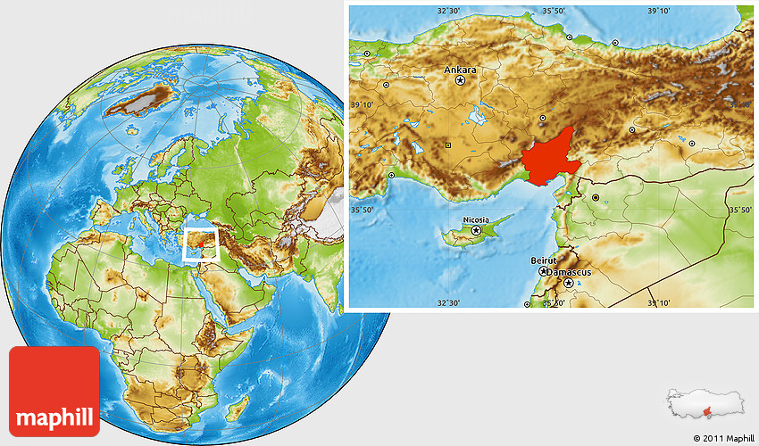 Physical Location Map of Adana
