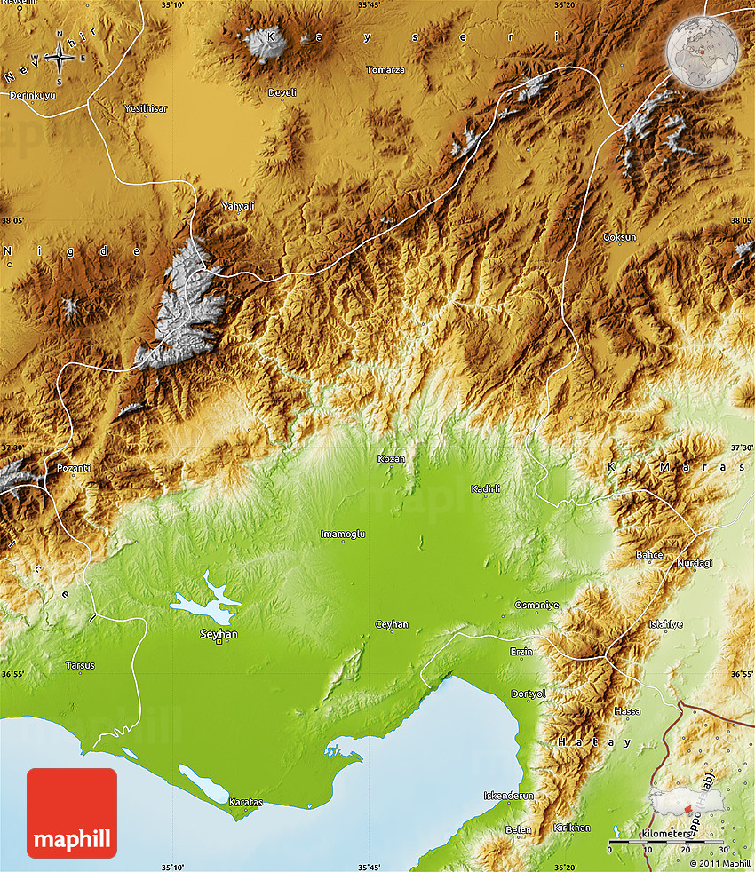 Physical Map of Adana