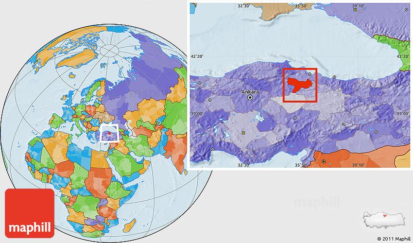 Political Location Map of Amasya