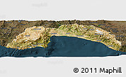 Satellite Panoramic Map of Antalya, darken