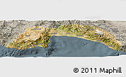 Satellite Panoramic Map of Antalya, semi-desaturated
