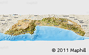 Satellite Panoramic Map of Antalya, shaded relief outside