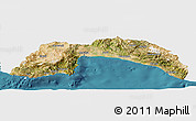 Satellite Panoramic Map of Antalya, single color outside