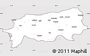 Silver Style Simple Map of Aydin, cropped outside