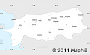 Silver Style Simple Map of Aydin, single color outside