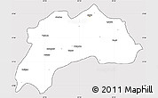 Silver Style Simple Map of Burdur, cropped outside