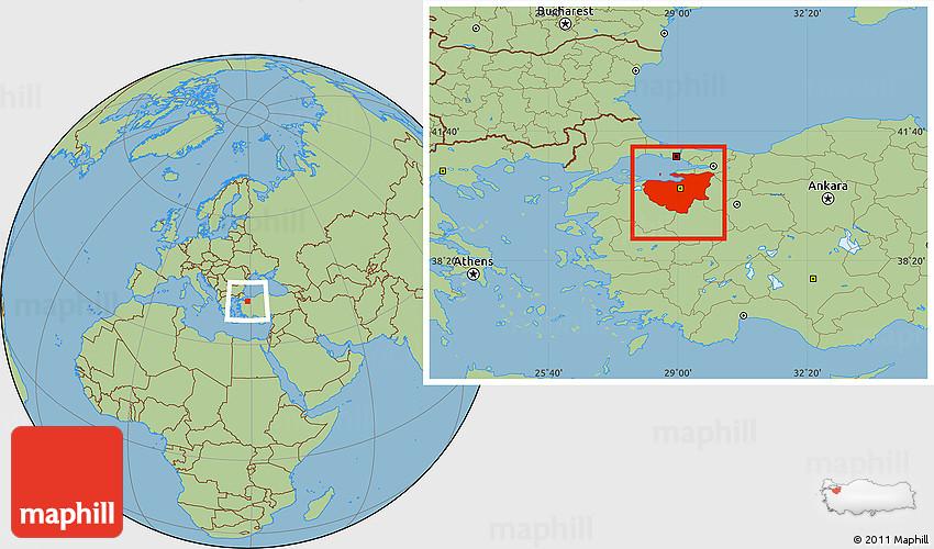 Savanna Style Location Map of Bursa