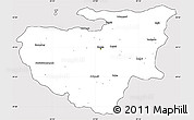Silver Style Simple Map of Bursa, cropped outside