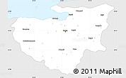 Silver Style Simple Map of Bursa, single color outside
