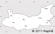 Silver Style Simple Map of Elazig, cropped outside