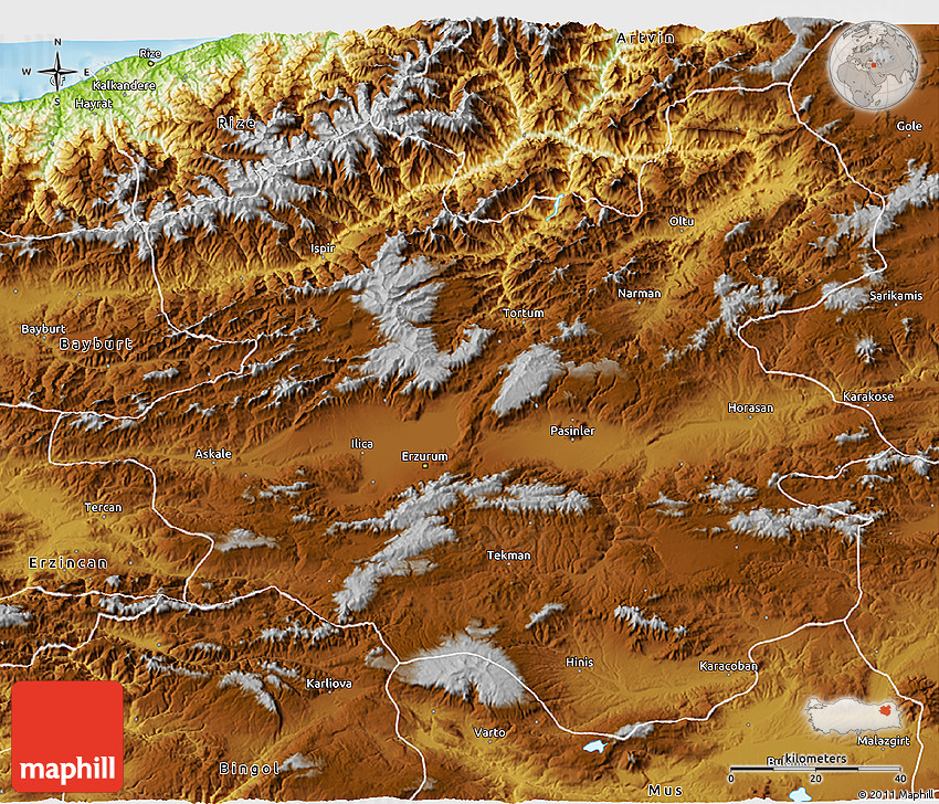 Physical 3D Map of Erzurum