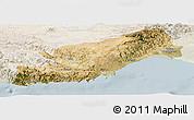 Satellite Panoramic Map of Icel, lighten