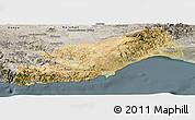 Satellite Panoramic Map of Icel, semi-desaturated