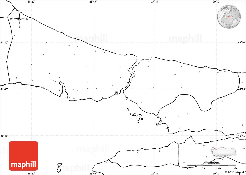 Blank Simple Map of Istanbul no labels