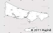 Silver Style Simple Map of Istanbul, cropped outside