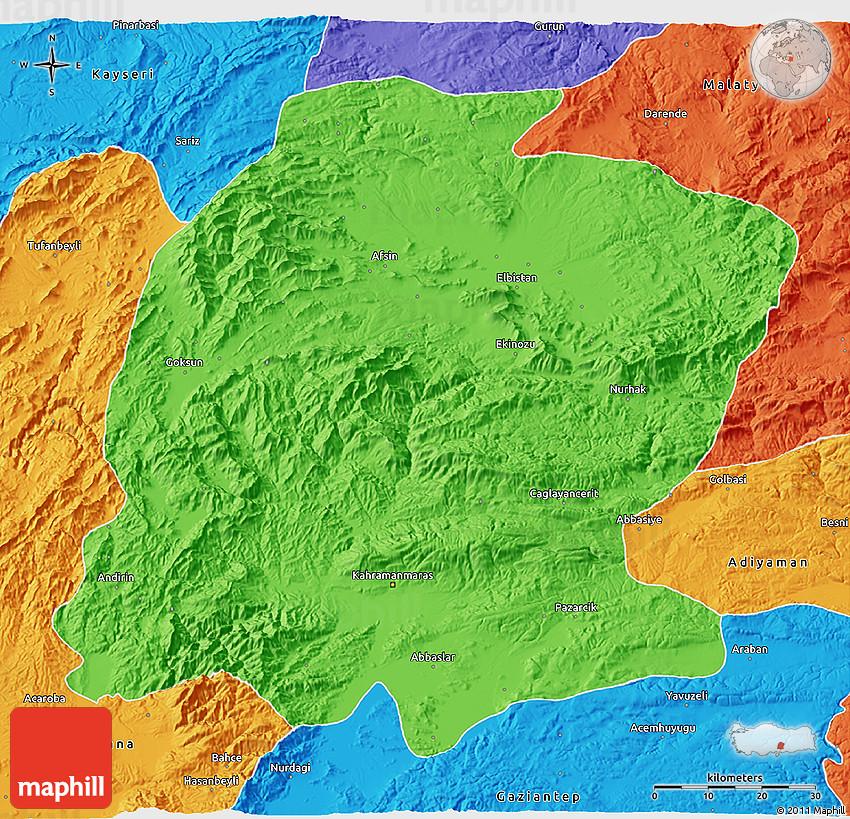 K Maras Turkey Political 3D Map of K....
