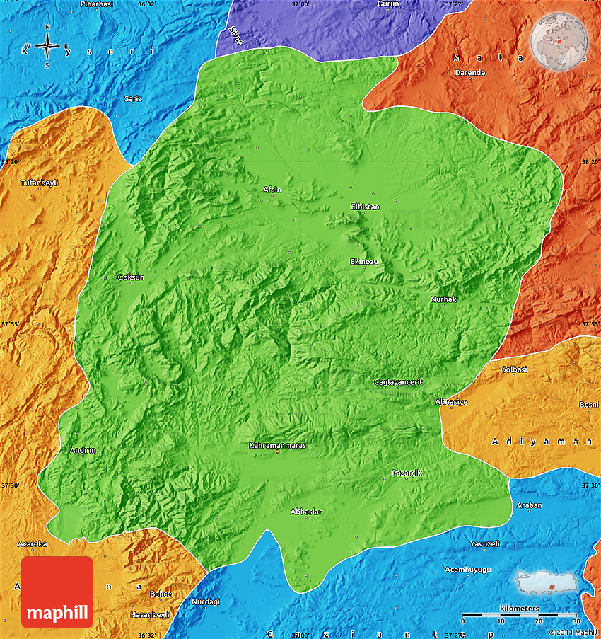 K Maras Turkey Political Map of K. Ma...