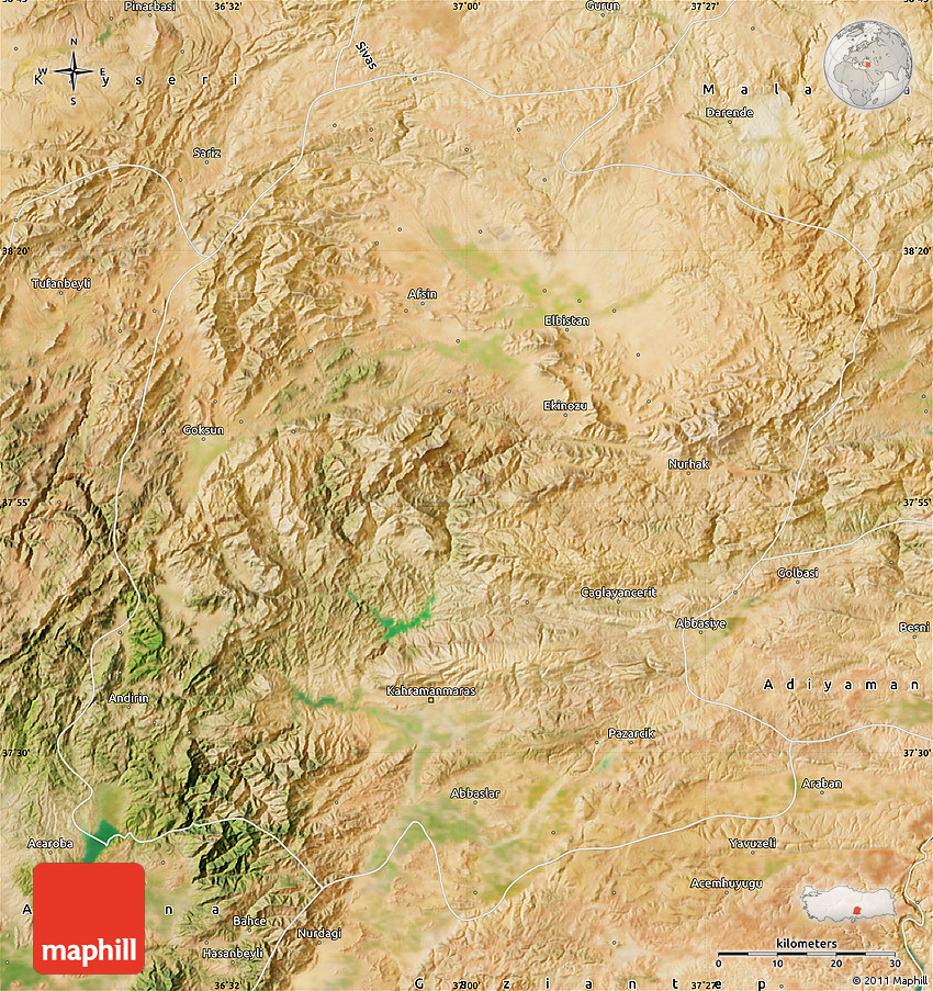 K Maras Turkey Satellite Map of K. Ma...