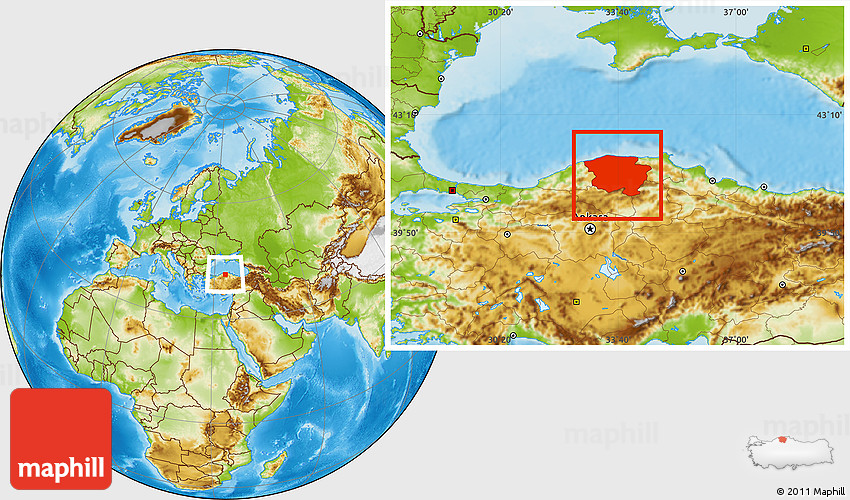 Physical Location Map of Kastamonu