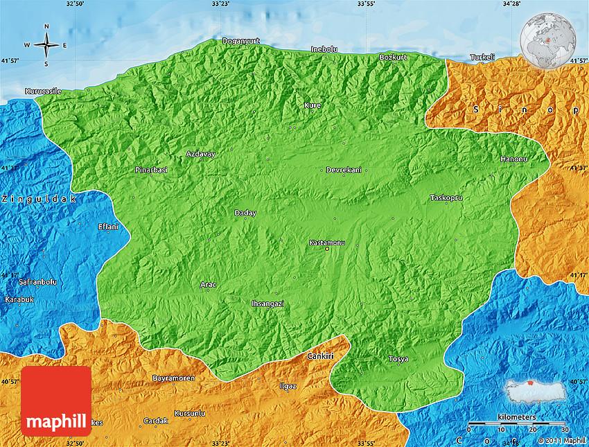 Political Map of Kastamonu
