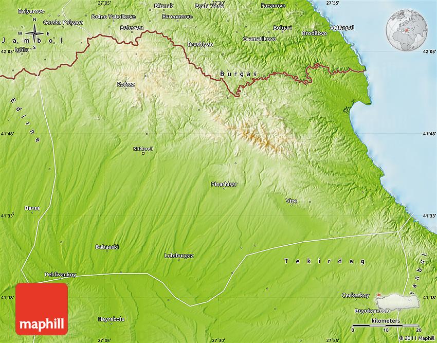 Physical Map of Kirklareli