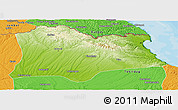 Physical Panoramic Map of Kirklareli, political outside