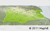 Physical Panoramic Map of Kirklareli, semi-desaturated