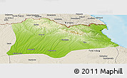 Physical Panoramic Map of Kirklareli, shaded relief outside