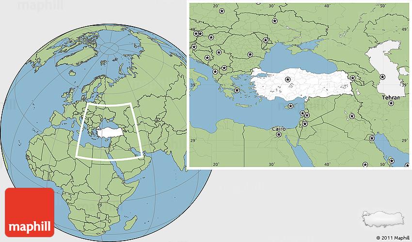 blank location map of turkey  savanna style outside