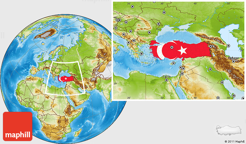 Flag Location Map of Turkey, physical outside