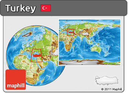 Physical Location Map of Turkey, within the entire continent