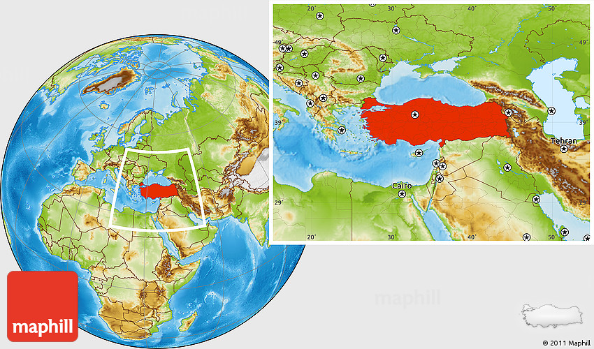 World Map Showing Turkey.Physical Location Map Of Turkey