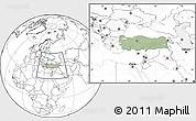 Savanna Style Location Map of Turkey, blank outside, hill shading inside