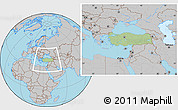 Savanna Style Location Map of Turkey, gray outside