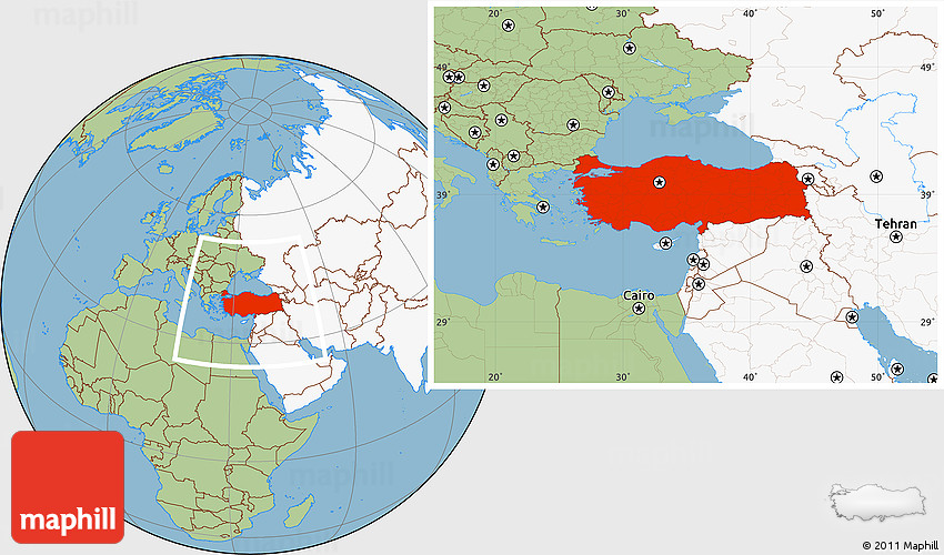 Savanna Style Location Map of Turkey highlighted continent