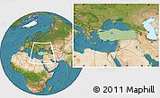Savanna Style Location Map of Turkey, satellite outside