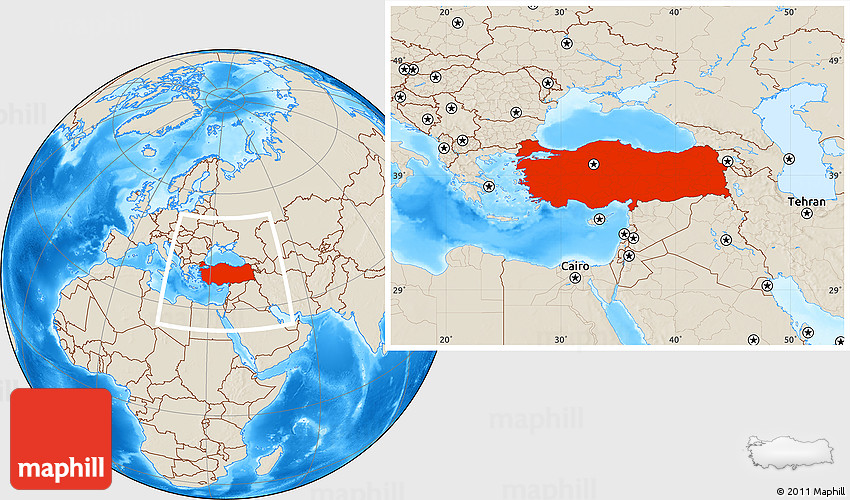 Turkey Map Of World.Shaded Relief Location Map Of Turkey
