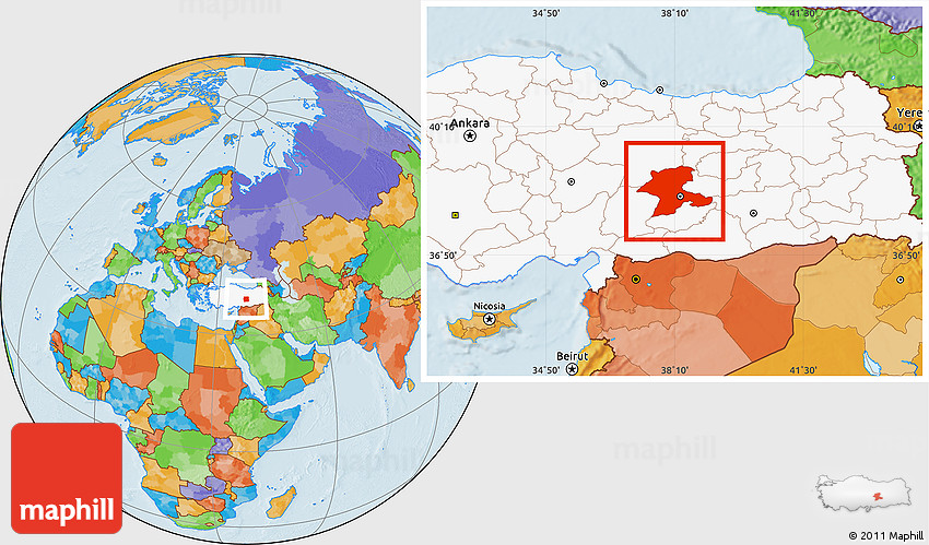 Political Location Map of Malatya highlighted country