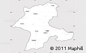 Silver Style Simple Map of Malatya, cropped outside
