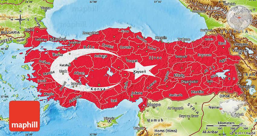 Flag Map of Turkey physical outside
