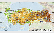 Physical Map of Turkey, lighten