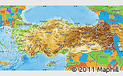 Physical Map of Turkey, political outside, shaded relief sea