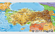 Physical Map of Turkey, political shades outside, shaded relief sea