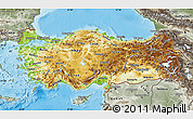 Physical Map of Turkey, semi-desaturated, land only