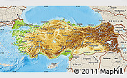 Physical Map of Turkey, shaded relief outside