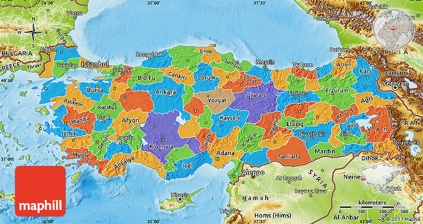Political Map of Turkey physical outside