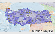 Political Shades Map of Turkey, lighten