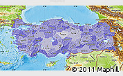Political Shades Map of Turkey, physical outside